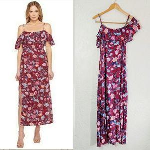 Lucky Brand Floral Shoulder Ruffle Maxi Dress